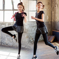 瑜伽服套装女夏新款短袖T恤速干衣透气吸汗运动健身服两件套