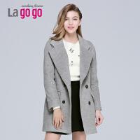 【每满200减100】lagogo拉谷谷大衣女中长款印花时尚纯色毛呢外套