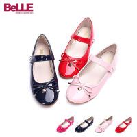 【159元2双】百丽童鞋儿童皮鞋系带蝴蝶结学生鞋舞蹈鞋DE0153