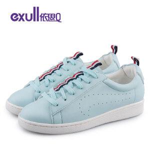 依思q新款圆头系带舒适低跟平底休闲鞋单鞋女鞋