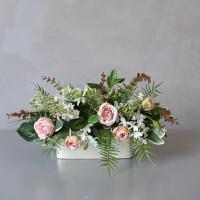 玫瑰花束仿真花假花绢花组合套装餐桌客厅摆设植物装饰花SN1212
