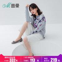 茵曼18年新款女鞋圆头花朵低跟瓢鞋舒适软底仙女单鞋4883011006B