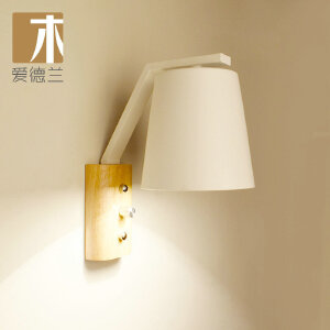 【每满100-50】创意木灯 木艺楼梯 玄关过道灯 卧室床头灯 玻璃实木壁灯YX-LMD-2127B�白色�
