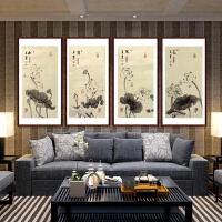 工笔荷花四条屏《和颜悦美》张一娜-中国女工笔画协会R2799