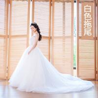 一字肩V领婚纱礼服2018新款韩版新娘结婚长拖尾齐地显瘦旅拍轻女