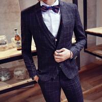 新款新郎伴郎结婚礼服韩版格子西服套装男士修身正装西装三件套潮