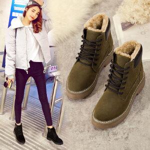 马丁靴女短靴女加绒冬季2018新款韩版百搭英伦风学生平底短靴加绒系带女棉鞋2338DTH
