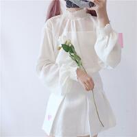 冬季韩版软妹可爱内搭款边领百搭花边雪纺甜美打底衫套头上衣女