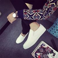 春夏季新款纯白色男鞋帆布鞋一脚蹬懒人男鞋子男士套脚皮鞋韩版潮