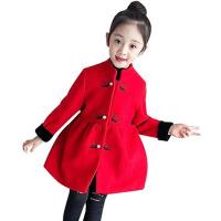 女童毛呢外套秋冬装新款儿童公主加厚冬季红色呢子大衣潮
