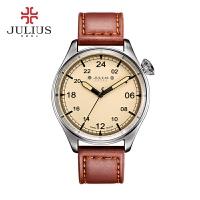 聚利时(Julius)新款皮带手表双倍数字刻度圆形夜光指针大表盘石英男表JAH-097