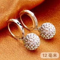 925银耳扣 玛瑙珍珠耳环奥地利水晶耳饰奥钻闪钻女款长款耳圈