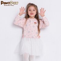 【2件3折 到手价:209】Pawinpaw卡通小熊童装秋女童圆领长袖假两件连衣裙可爱