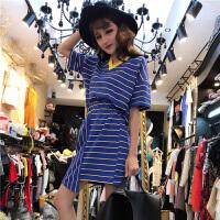 夏季女装韩版双V领条纹宽松T恤短袖上衣+不规则包臀半身裙两件套