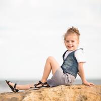 儿童凉鞋新款魔术贴男童沙滩鞋子夏季女童鞋露趾亲子童鞋
