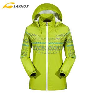 雷诺斯户外单层冲锋衣女薄款外套防风防水旅行服透气修身印花外套