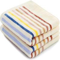 三利 毛巾家纺 纯棉割绒彩条毛巾 36×76cm 柔软吸水大面巾2条装