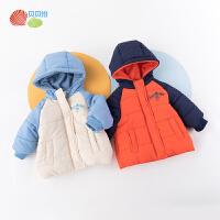 贝贝怡男女宝宝棉服冬季新款儿童撞色连帽洋气加厚保暖外套194S2266