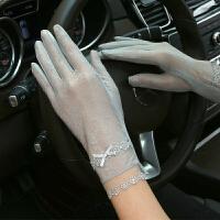 手套女夏短款触屏手套女薄款蕾丝冰丝手套女骑车开车