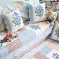 全棉绗缝沙发垫坐垫子防滑布艺加厚田园四季通用纯棉皮沙发巾罩套