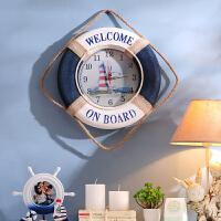 地中海风格家居装饰品 儿童房墙面壁饰挂件 客厅欧式壁挂船舵 创意个性钟表圆形挂钟
