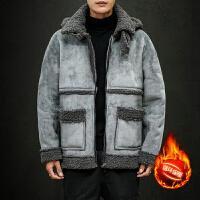 羊羔毛棉服男港风潮流个性机车服加绒加厚羊羔绒男宽松大码棉衣冬