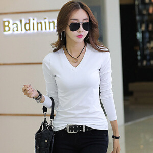 2017秋装新款长袖T恤女韩版女装纯色打底衫V领修身显瘦小衫