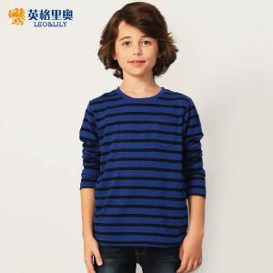 2018秋装新款男童圆领套头T恤童装中大童条纹儿童长袖宽松打底衫