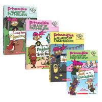 英文原版 学乐大树系列 桥梁章节书 Princess Pink and the Land of Fake-Believe 3册 儿童分级读物  全彩插图曲折故事 小学生课外英语读物
