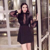 2018泰国潮牌名媛性感蕾丝镂空透视黑色精致花朵小礼服连衣裙
