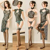 情趣睡衣性感骚透明旗袍制服诱惑透视装丝袜变态睡裙激情套装女骚