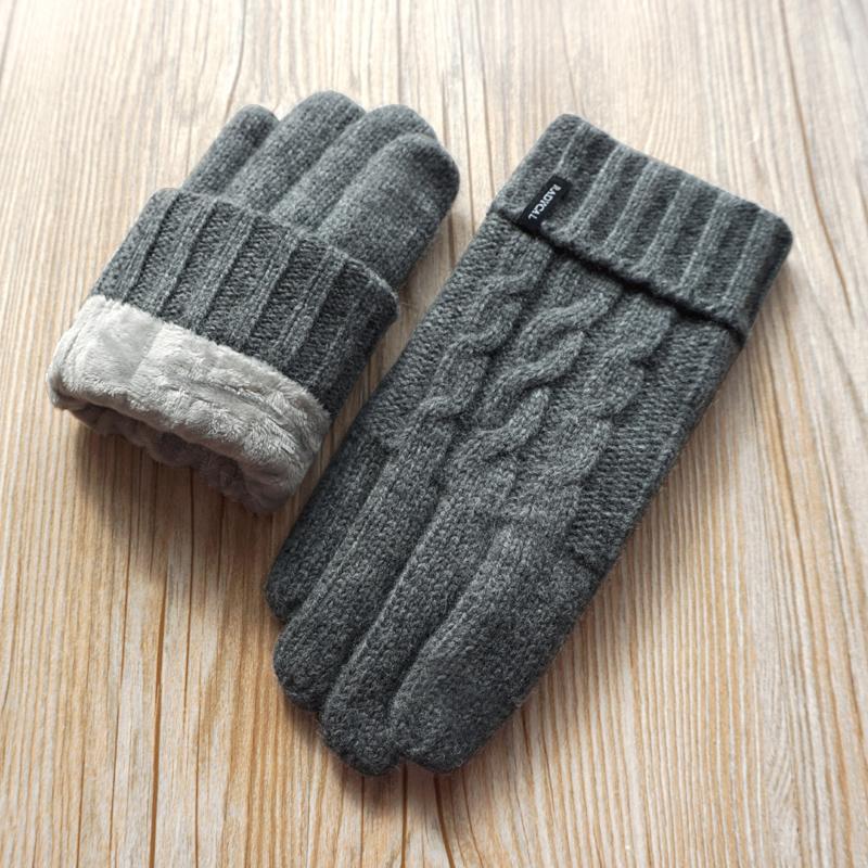 男士羊毛毛线针织拧花触屏保暖手套