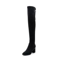 星期六(ST&SAT)冬季专柜同款织物尖头粗跟过膝长靴SS84117671