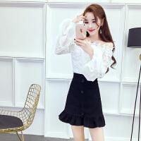 上衣~韩版2018夏季新款显瘦甜美时尚一字领泡泡袖百搭蕾丝上衣