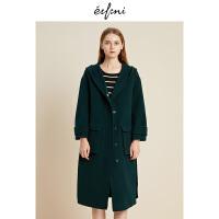 伊芙丽冬装新款韩版毛呢外套中长款双面呢大衣女