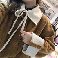 韩版宽松加厚两面穿毛绒绒棉衣外套女春装2018新款潮保暖上衣