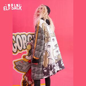 【尾品汇大促】妖精的口袋秋冬装2018新款POLO领格子长款chic复古毛呢外套女