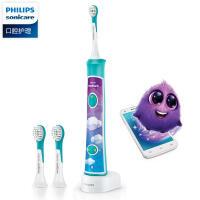 Philips/飞利浦电动牙刷HX6322儿童充电式声波智能音乐定时蓝牙 (标配自带2支刷头)