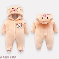 冬季婴儿连体衣秋冬季宝宝衣服0-3-6个月加绒加厚新生儿初生外出抱衣秋冬新款