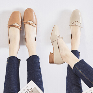 ZHR2019春季新款玛丽珍鞋小皮鞋复古奶奶鞋chic浅口单鞋粗跟女鞋J38