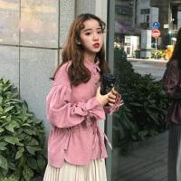 韩版复古宽松蝙蝠袖灯芯绒衬衣女冬装2018新款学院风打底衬衫外套