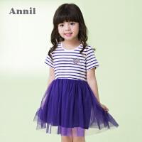 【3件3折:65.7】安奈儿童装女童条纹网纱拼接短袖连衣裙夏装新款