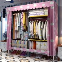 门扉 衣柜 简易布衣柜双人大号布艺收纳衣橱经济简约组装柜子折叠加固挂衣橱