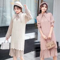 连衣裙中长款毛衣裙套装孕妇秋冬装两件套2018新款韩版套装背心裙