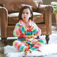 秋冬季儿童法兰绒睡衣男女童加厚家居服小女孩宝宝珊瑚绒睡衣套装