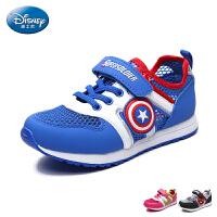 迪士尼童鞋2017年网面鞋男女童单魔术贴慢跑鞋中童卡通运动鞋