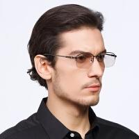 东海天然水晶石眼镜 浅茶色石头镜纯钛架 男款养眼清凉款老石头