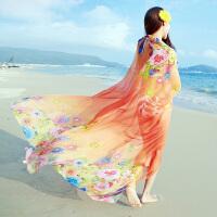 丝巾女春长款印花空调披肩夏季海边沙滩巾雪纺围巾
