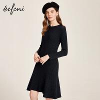 伊芙丽冬装新款韩版时尚黑色裙子长袖中长款针织连衣裙女