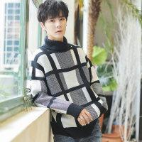 2018秋冬新款毛衣男格子韩版潮流宽松保暖高领青年针织衫个性加厚ins上衣